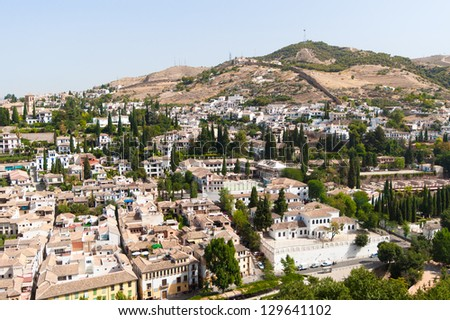 View of the old section of Granada seen from the Alhambra
