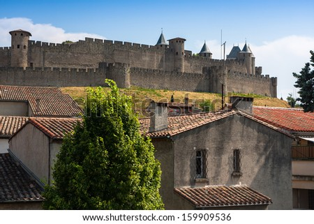 View of the old town Carcassonne, Southern France. Founded by the Visigoths in the 5th century, it was restored in 1853 and is now a UNESCO World Heritage Site. - stock photo