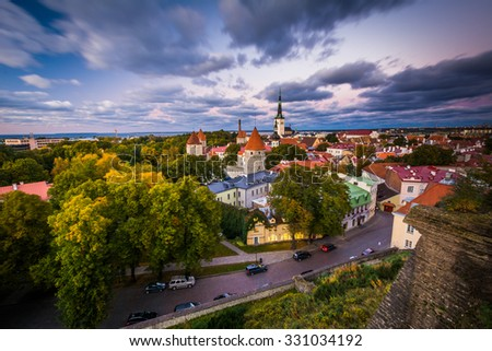 View of the Old Town, from Patkuli viewing platform on Toompea Hill, in Tallinn, Estonia.