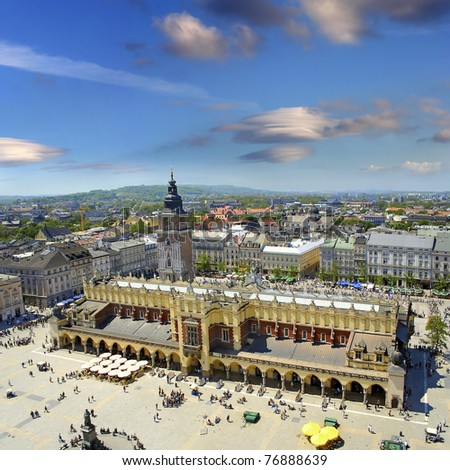 View of the old town of Cracow, old Sukiennice, Poland, World Heritage Site by UNESCO - stock photo