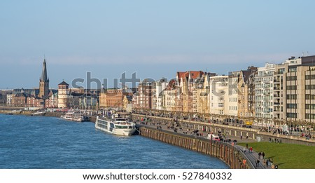 View of the old town of Dusseldorf at the river Rhine in Germany