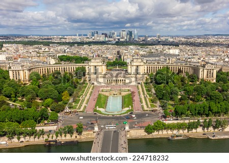 View of the old town, River Seine, the Palais de Chaillot and the modern business district of Paris - La Defense from Eiffel Tower - stock photo