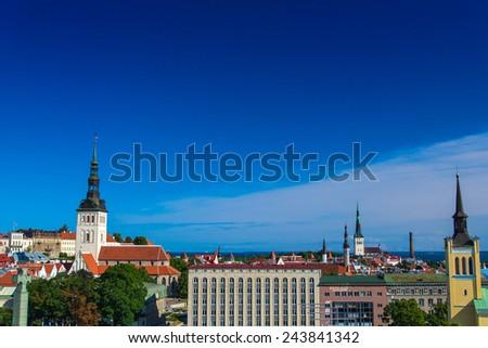 View of the old town. Tallinn, Estonia, Europe. - stock photo