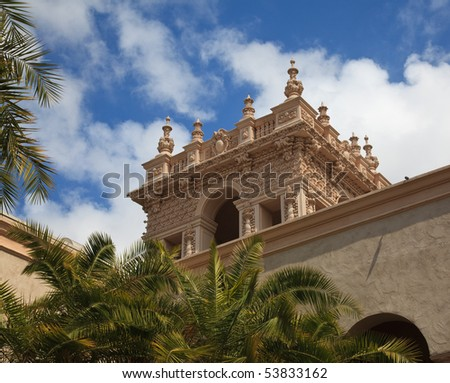 View of the ornate Tower from the Alcazar Gardens in Balboa Park in San Diego - stock photo