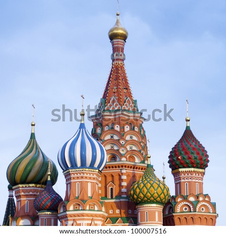 View of the  Orthodox Cathedral of St. Basil in Red Square, Moscow, Russia - stock photo