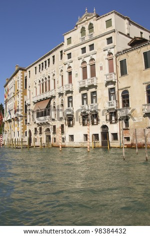 View of the palaces lining the Grand Canal. (Venice, Italy) - stock photo