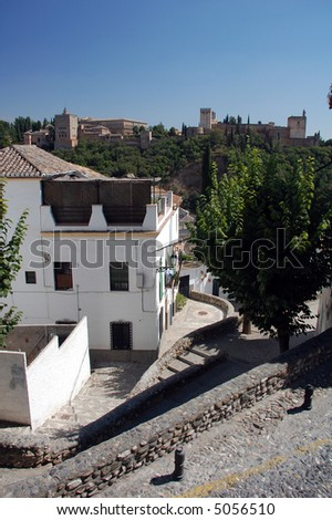 View of the palaces of La Alhambra in Granada, Andalousia, Spain, Europe.
