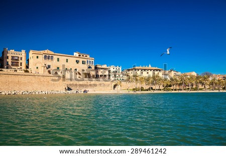 view of the Parc del Mar in the centre of Palma de Mallorca, Spain - stock photo