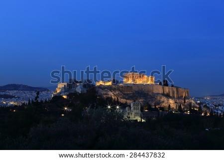 View of the Parthenon at night, Athens, Greece - stock photo