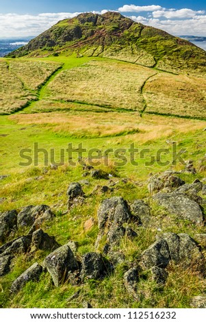 View of the path to the Arthur Seat in Edinburgh - stock photo