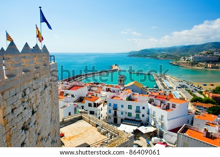 View of the Peniscola port. Valencia, Spain - stock photo