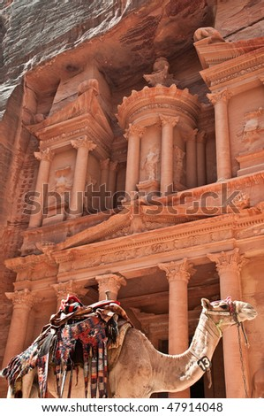 view of the petra treasury with camel in foreground - stock photo