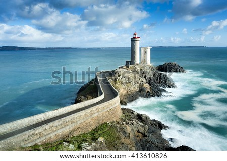 View of the Phare du petit minou in Plouzane, Brittany, France - stock photo