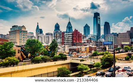 View of the Philadelphia skyline from the Reading Viaduct, Philadelphia, Pennsylvania. - stock photo