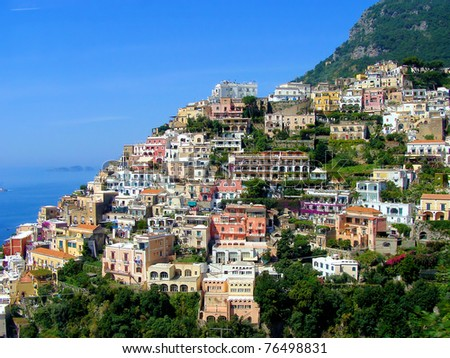 View of the picturesque town of Positano on Italy's Amalfi Coast - stock photo