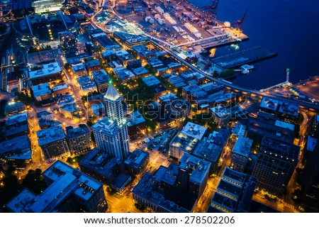 View of the Pioneer Square area at night, in Seattle, Washington. - stock photo