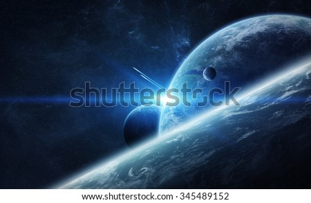 View of the planet Earth from space close to an ex planet 'elements of this image furnished by NASA' - stock photo