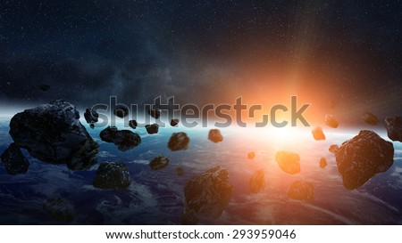 View of the planet Earth from space during meteorite impact 'elements of this image furnished by NASA' - stock photo