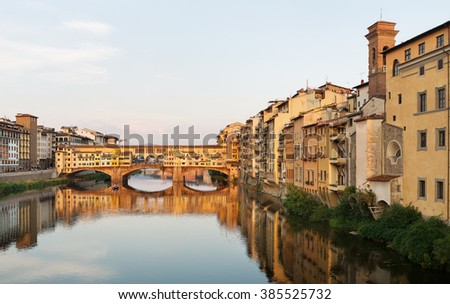 View of the  Ponte Vecchio Bridge, over the Arno River, Florence , Italy
