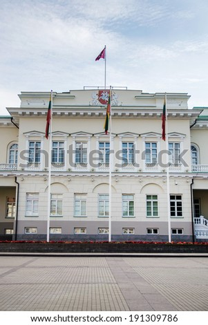 View of the Presidential Palace in Vilnius - stock photo