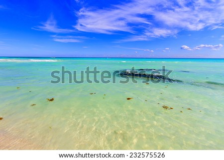 View of the pristine tropical beach. - stock photo