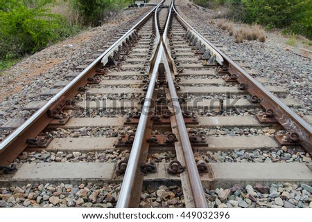 view of the railway Railroad Tracks crossing and going in different directions
