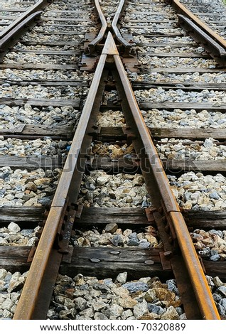 View of the railway track in morning - stock photo