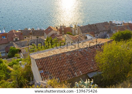 View of the red roofs and the sea, Sibenik, Croatia