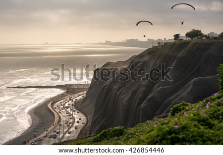 View of the reef and the hight way in Mira flores, Lima. - stock photo