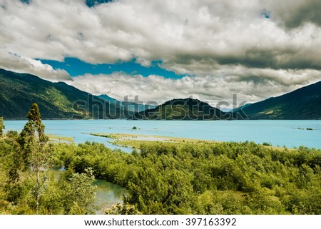 View of the Reloncavi Estuary, Chile - stock photo