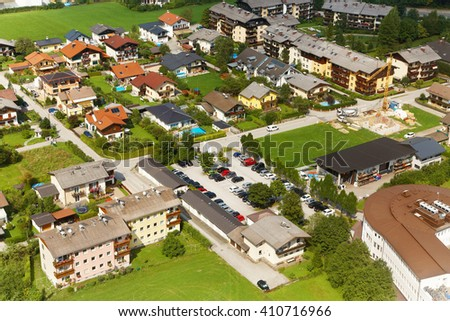 view of the residential area with houses and streets from above. cityscape with small old beautiful village