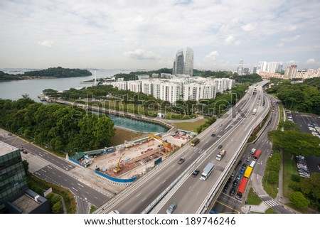 View of the residential areas of Singapore.  - stock photo
