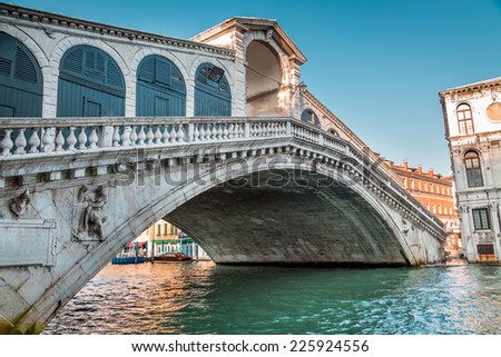 View of the Rialto Bridge in the morning - stock photo