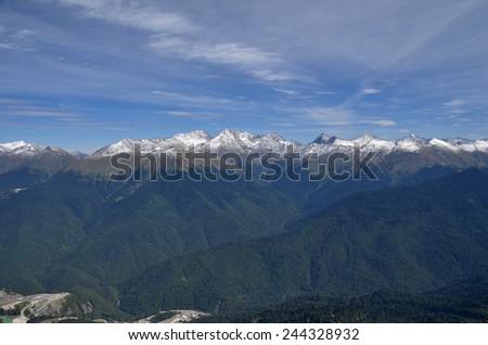 View of the ridge Achishkho, Krasnaya Polyana, Sochi, Russia - stock photo