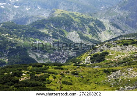 View of the Rila Mountains in the area of Seven Rila Lakes National park in Bulgaria - stock photo