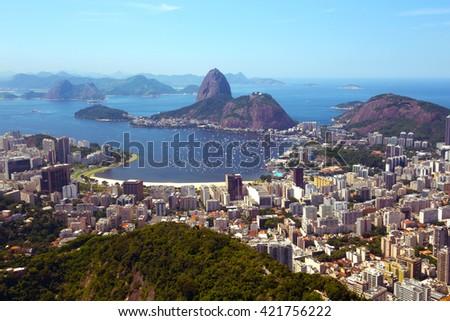 view of the Rio de Janeiro and Pao de Acucar - stock photo