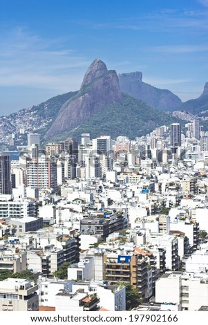 View of the Rio de Janeiro's famous neighbourhoods of Copacabana, Ipanema and Leblon - stock photo