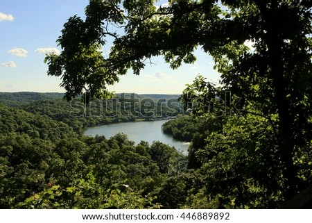 View of the  river from a bluff; Missouri, Midwest - stock photo