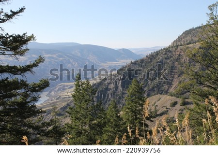 View of the river from the hills - stock photo
