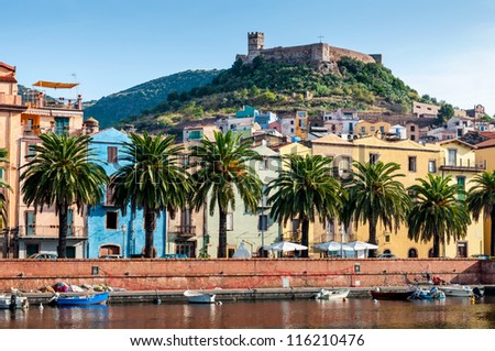 View of the river, the town of Bosa and the old fort on the island of Sardinia in Italy - stock photo