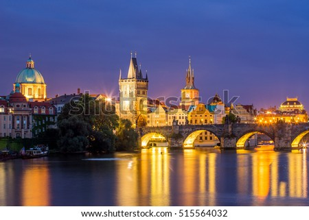 View of the River Vltava and Charles Bridge at Dusk Prague Czech Republic Europe
