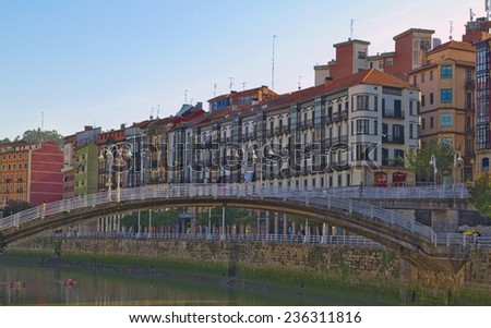 View of the riverside of river nervion in spanish bilbao. - stock photo