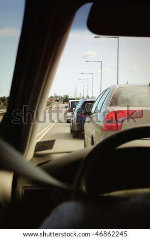 view of the road from the car - stock photo