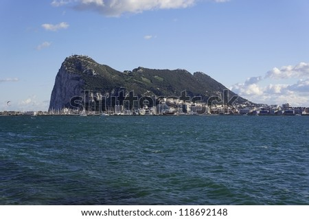 View of the Rock of Gibraltar in spring