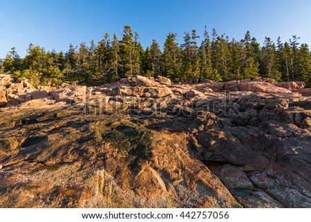View of the rocky cliff shore line at Acadia National Park. Maine, New England at sunrise - stock photo