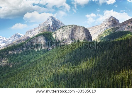 View of the Rocky Mountains in Alberta, Canada - stock photo