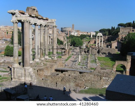 view of the roman Forum and Colosseum - stock photo
