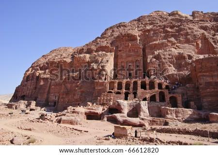 View of the Royal Tombs. Petra, Jordan - stock photo