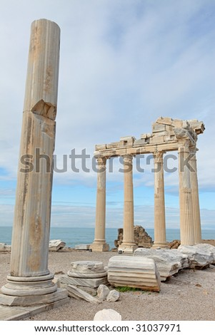 View of the ruins of Apollo Temple in Side Turkey - stock photo