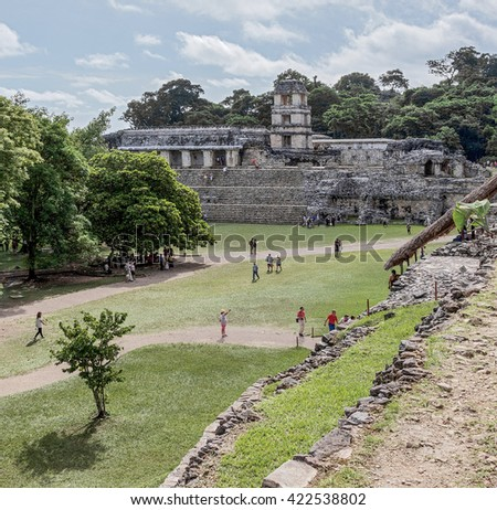 View of the ruins of mesoamerica ancient city Palenque, Mexico - stock photo